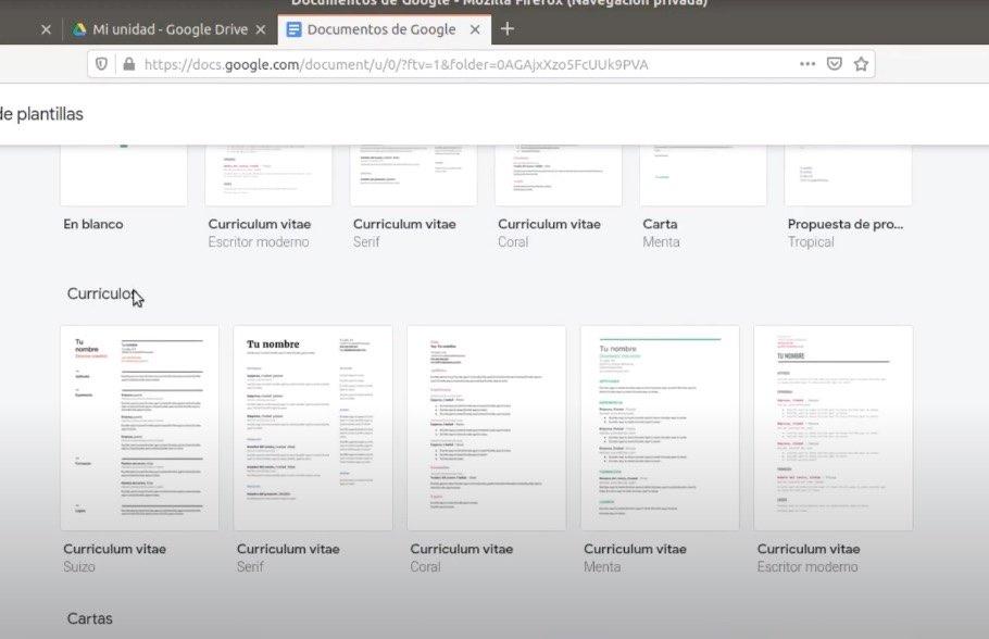 plantillas curriculum google docs
