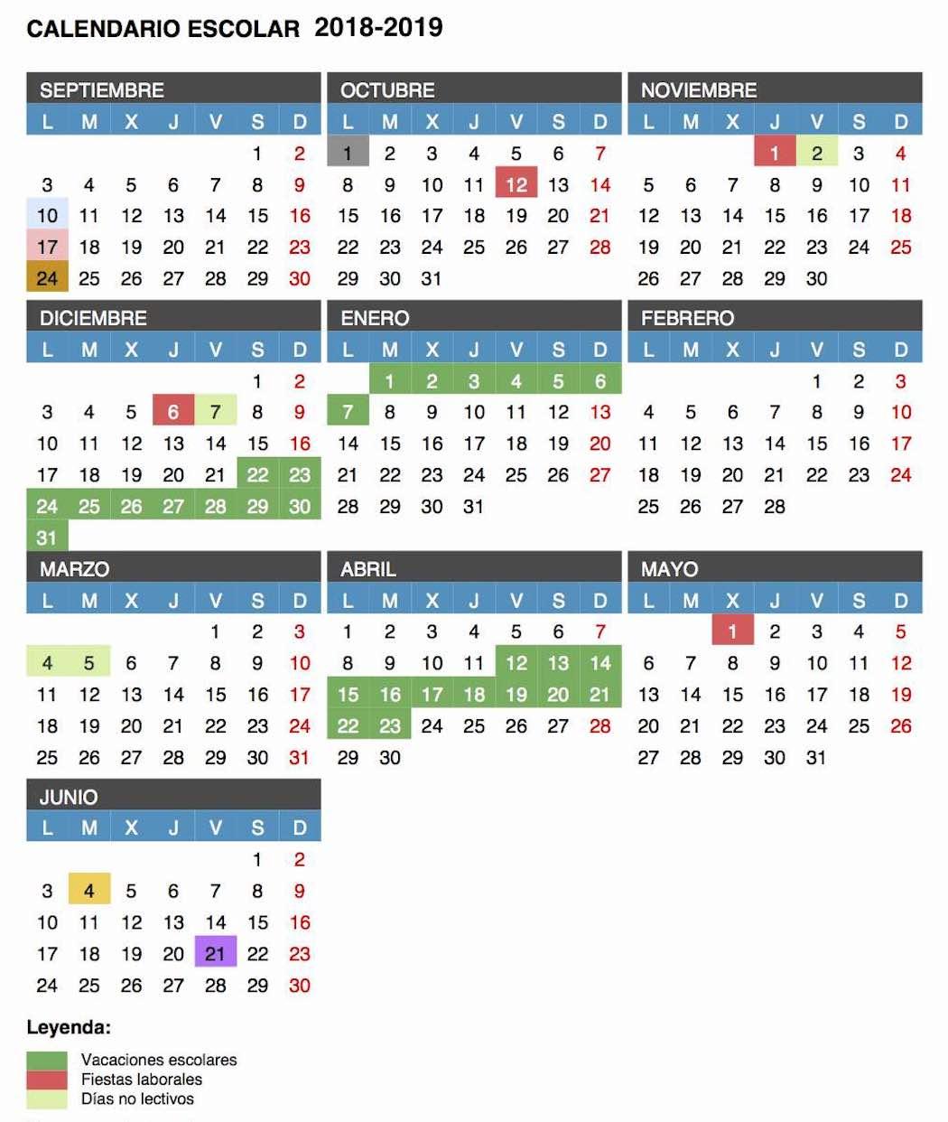 Calendario Vacaciones.Calendario Escolar