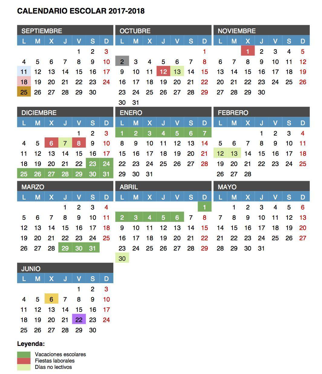 Calendario Educacyl.Calendario Escolar Curso 2017 2018
